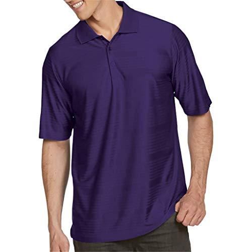 Antigua Golf Herren Illusionshorts Sleeve Performance Polo Shirt Dark Purple Small -