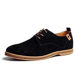 AARDIMI Herren Schnürhalbschuhe Casual Schuhe Neue Frühling Männer Wohnungen Schnüren Sich Männliche Wildleder Oxfords Männer Lederschuhe(Hersteller-Größentabelle IM Bild Beachten)(42Schwarz)