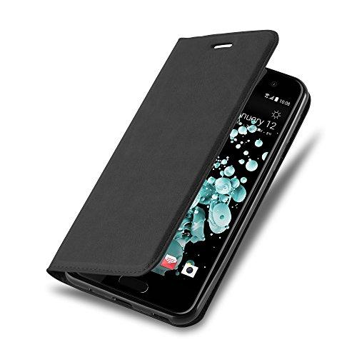 HTC U PLAY Hülle in NACHT SCHWARZ von Cadorabo - Handyhülle mit unsichtbarem Magnetverschluss Standfunktion und Kartenfach für HTC U PLAY Case Cover Schutzhülle Etui Tasche Book Klapp Style