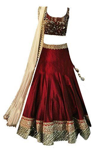 Clickedia Kids Heavy Bhagalpuri Silk Embroidered Maroon Lehenga with matching blouse pc - traditional wear ( 8-11 yrs)- Semi-Stitched alterable