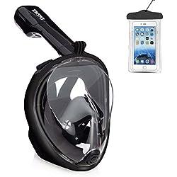 Emsmil Masque de Plongée Intégral Plein Visage avec Tuba Support Caméra gopro sous Marine Schnorkel Snorkeling Respiration Anti-buée Anti Fuite Étanche Sac Téléphone pour Adulte et Enfants Noir L/XL