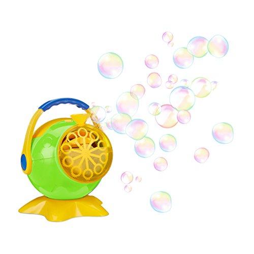 Relaxdays Seifenblasenmaschine, Propeller Design, automatischer Betrieb, Geburtstage, Hochzeiten, grün