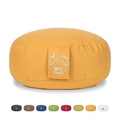 Hochwertiges Meditationskissen/Sitzkissen FEELGOODSEATS aus 100% Bio-Baumwolle mit herausnehmbarem Inlay und praktischer Trageschlaufe - pflegeleicht, höhenverstellbar, Füllung: Dinkelspelzen