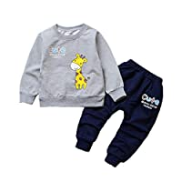 Kids Clothes Suit 2Pcs Long Sleeve Jumper & Trousers Cute Giraffe Print Casual Sets Toddler Child Girls Boys Letter Print HIGH Five Clothing Sets Two-Piece Set 1 2 3 Years