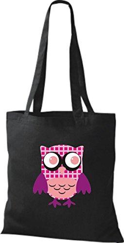 ShirtInStyle Jute Stoffbeutel Bunte Eule niedliche Tragetasche mit Punkte Karos streifen Owl Retro diverse Farbe, schwarz
