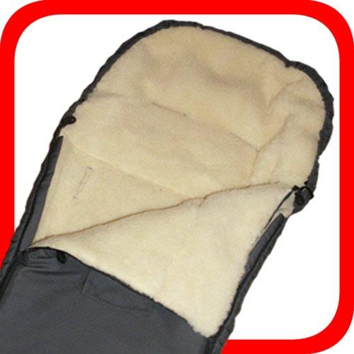 Baby Universal Fußsack, 100% Lammwolle, grau / anthrazit -