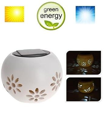 MQ Solarleuchte Solarlampe Tischleuchte LED Licht Solar-Topf Garten-Beleuchtung Polyresin von MQ-Power - Lampenhans.de