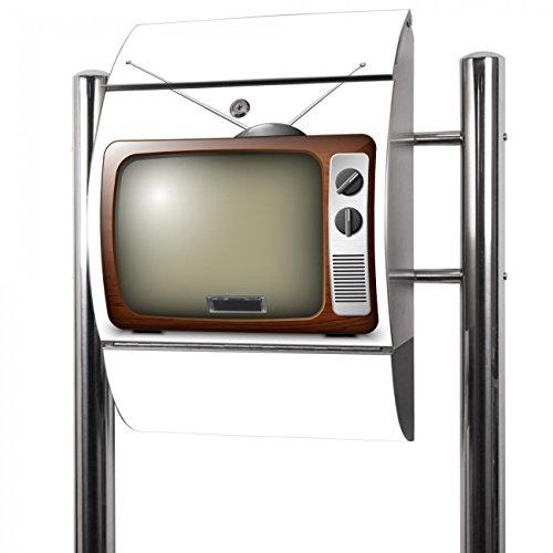 BANJADO Edelstahl Briefkasten groß, Standbriefkasten freistehend 126x53x17cm, Design Briefkasten mit Zeitungsfach Motiv Fernseher