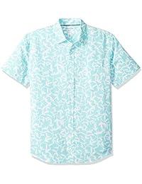 Amazon Essentials - Camisa a cuadros de lino con manga corta para hombre.
