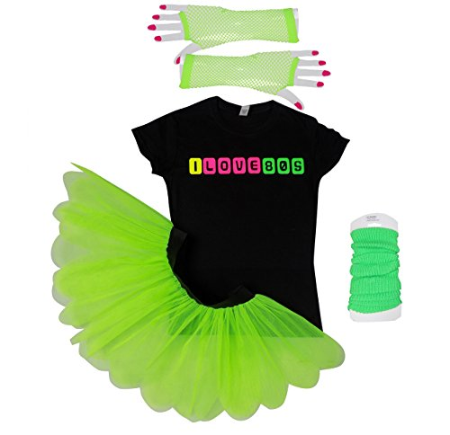 I Love 80's Neon Fancy Dress 80s Night Fluorescent UV Tutu Skirt Set. XS to 3XL in 4 colours