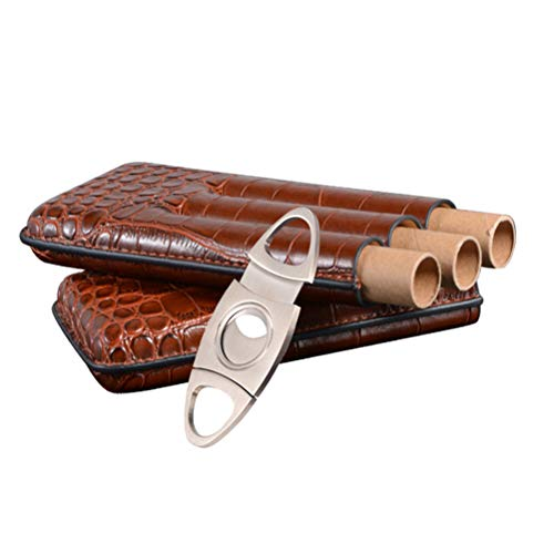 Egosy Krokodil Muster Leder Zigarre Fall Reise Leder Humidor Box W/Edelstahl Zigarre Cutter Fit 2 Cohiba Zigarren Muster Fall