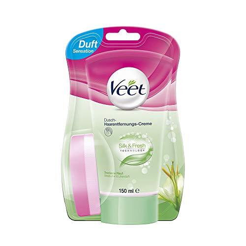 Veet for Men Dusch-Haarentfernungscreme Power Effect - Schnelle & effektive Haarentfernung für Männer in nur 3-6 Minuten - 1 x 150 ml Tube mit Schwamm -