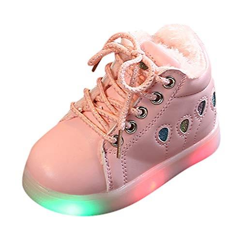 HDUFGJ LED Schuhe Kinder Beleuchtete Freizeitschuhe Mädchen Kinder Schuhe Nette Baby Mädchen Stiefel Plus Samt Leichtgewicht Laufschuhe Faule Schuhe Turnschuhe fitnessschuhe26.5 EU(Rosa)