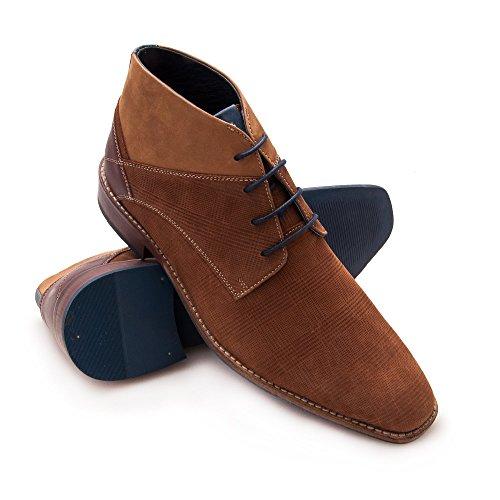 Zerimar Herren Lederschuh Komfortabler Schuh mit Flexibler Gummisohle Leder Casual Schuh für Den Mann Hochwertige Leder Schuhe Elegant 100% Leder Farbe Cognac50