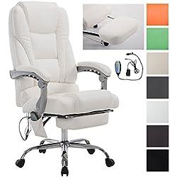 CLP Fauteuil de Bureau Ergonomique avec Fonction de Massage Pacific V2 - Rembourré Revêtement en Similicuir - Chaise à Roulette - Réglable en Hauteur - Charge Max. 150 kg - Couleur au Choix: Blanc