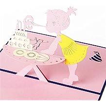 WOZOW 3D Pop Up Cards Tarjetas de felicitación de Aniversario de Feliz cumpleaños de San Valentín