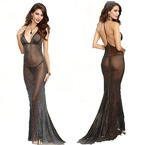 HJG Womens Mesh See Through Trailing Kleid, Lange Kleid Dessous mit Tanga