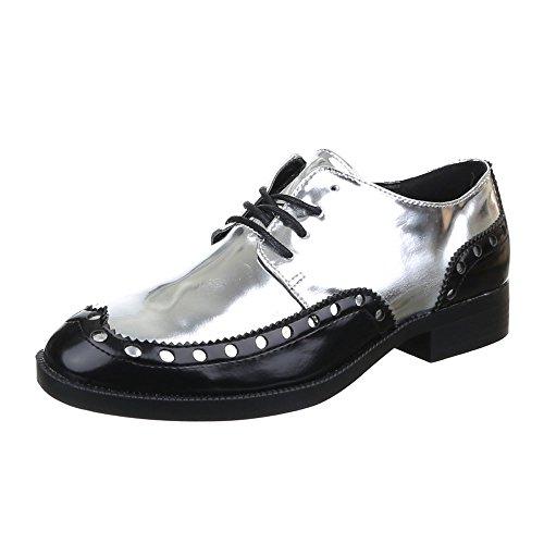 Damen Schuhe, CH-32001, HALBSCHUHE SCHNÜRER Schwarz Silber