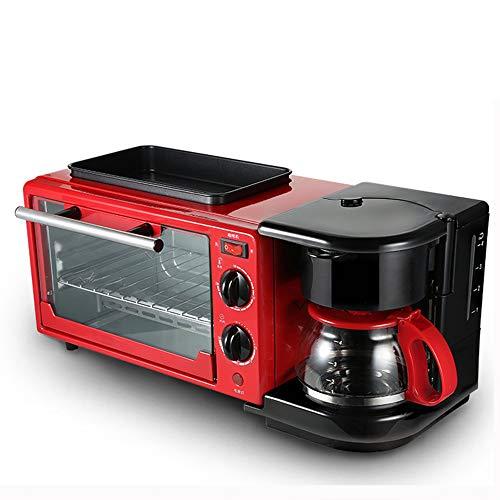 3 In 1 Frühstück Maschine Mit 650W Backofen, Toaster Und 400W/600Ml Kaffeemaschine.9L Multifunktions Küche Kleingeräte, Einstellbare Thermostat Und Timer, Leicht Zu Reinigen Küchengeräte,Rot