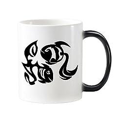 Idea Regalo - DIYthinker Costellazione dei Pesci Segno dello Zodiaco Simbolo Mark Silhouette Illustrazione del Modello Morphing sensibile al Calore Tazza cambiante di Colore della Tazza di Latte Caffèlie