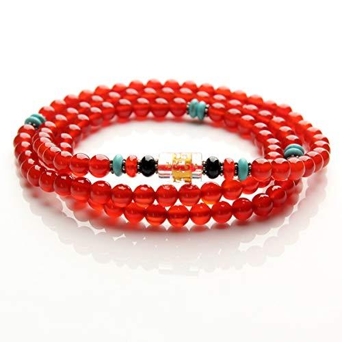 WFYJY-Natürliche Rote Agate-Armband 108 Buddha-Perlen Mehrschichtige Streicher Crystal Hand Schmuck Persönlichkeit Passt Zubehör Geschenke