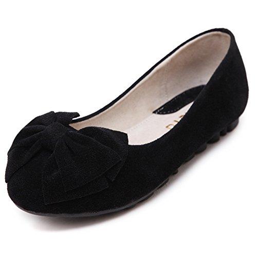 Smilun Loafer Damen mit Schleifen Ballerina Faltbar Nubukleder Flach Schleifen Ultra-Weich Schwarz