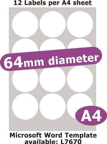 64mm diametro rotondo , 60 Etichette , Opaco Cartoncino Bianco , 5 A4 Fogli , Laser Copiatrice Getto d'inchiostro Adesivi
