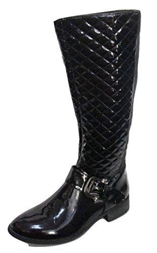 Hennen Patent Gesteppt Stiefel, Schwarz - Jet Black - Größe: 36 - Gesteppte Stiefel