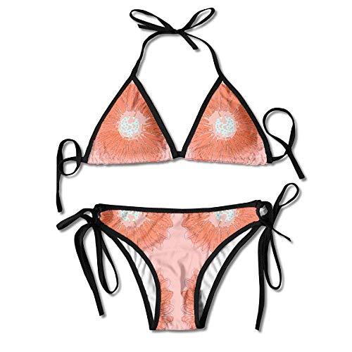 Jieaiuoo Womens Sexy Bikini Sets Bathing Swimsuits Tie Back Crazy Daisy Orange Laser Fabric Flower Print -