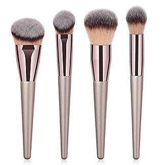 MSYOU – Juego de 4 brochas de maquillaje para maquillaje y maquillaje, brochas de maquillaje, brochas de maquillaje, brochas para sombra de ojos, brocha para llama (marrón)