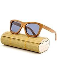 Hecho a mano gafas de sol, lentes polarizadas, de madera de bambú natural, Hombre/Mujer Gafas de sol