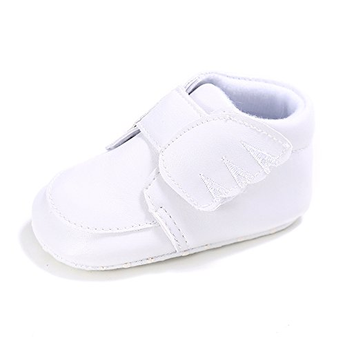 Baby Mädchen Flügel Klett PU Leder Sneakers Kleinkind Prewalker Schuhe Weiß Größe 0-6 monate (Größe High-top 6 Mädchen Sneakers)