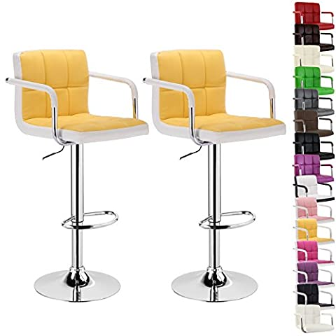 WOLTU BH16gbw-2 bar stool with armrest, 2pcs set, stepless height adjustment, chromed steel, anti-slip rubber, care-resistant synthetic leather, 2-color well-padded seat(Yellow and White)
