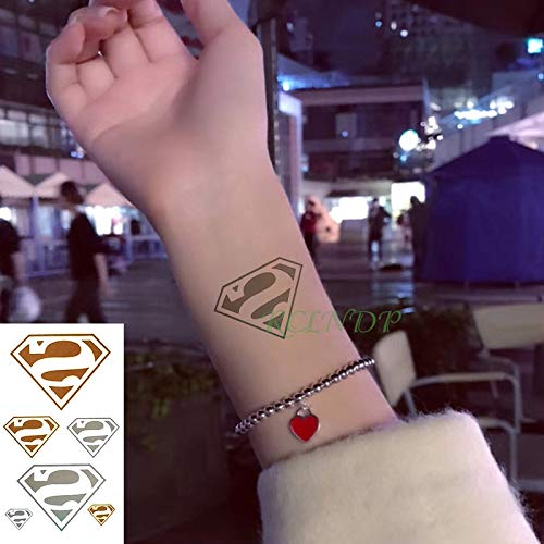 5 stücke Wasserdichte tatoo Tattoo Aufkleber Superman Gefälschte Tatto Flash Tatoo temporaire Handgelenk Fuß Hand Für Mädchen Frauen Männer kinder