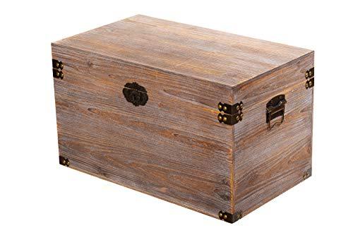 Birendy BS 28001 Antikweiß ECHTHOLZ MASSIV schwere stabile Truhe, Holztruhe, (Größe XXL (70cm B x 40cm H x 40cm T))