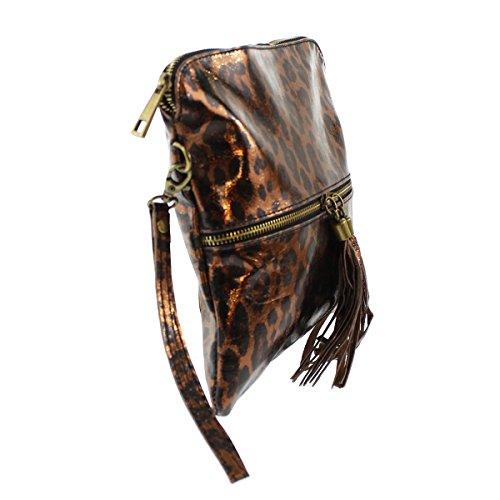 CTM Pochette da donna, borsetta a mano in vera pelle made in Italy, fantasia Animalier con tracolla 25x23.5x2 Cm Bronzo