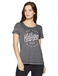 Tommy Hilfiger Womens Cowl Neck T-Shirt (A7AJK152_Black Beauty_S)