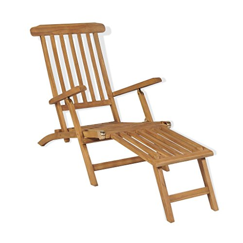 vidaXL Bois de Teck Solide Chaise de Terrasse avec Repose-Pied Transat Jardin
