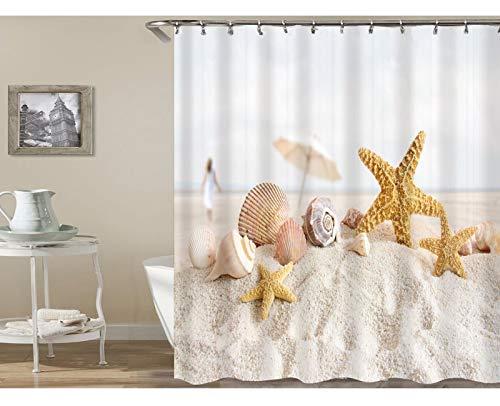 Bishilin Polyester-Stoff 3D Duschvorhang Vintage Seestern mit Muschel Strand 3D Lustiger Duschvorhang Vintage 165x180 -
