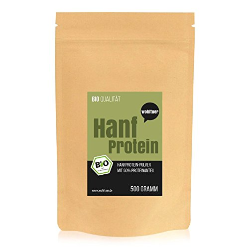 Wohltuer Bio Hanfprotein | Glutenfrei, Cholesterinfrei, Nährstoffreich | 100% Pflanzliches Protein & Vegan | Proteinpulver in geprüfter Bio-Qualität (500g) (Essen Leben Bio-perfekte)