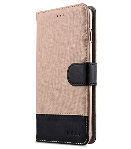Apple Iphone 7 Melkco Jacka Type Premium Leather Case with Premium Leather Hand Crafted Good Protection,Premium Feel-Red LC Beige Cross pattern/Black 1