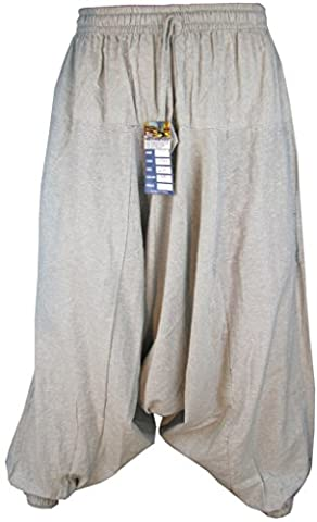 Little Kathmandu Men's Cotton Hemp Harem Aladdin Genie Wide Leg Low Crotch Ninja Pants Trousers Natural Hemp LXL