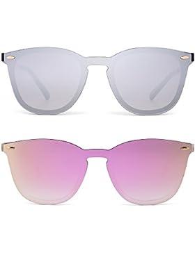 Gafas de Sol Wayfarer Sin Marco Una Pieza de Espejo Reflexivo Anteojos Para Hombre Mujer 2 Paquetes(Plateado&Rosa)
