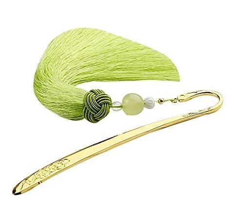 Marqueurs en métal rétro de style chinois avec des glands soyeux Cadeaux créatifs Herbe verte