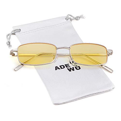 ADEWU Platz Sonnenbrille Mode Retro Brille für Damen Herren (Gelb Linse + Silber Rahmen NEW)