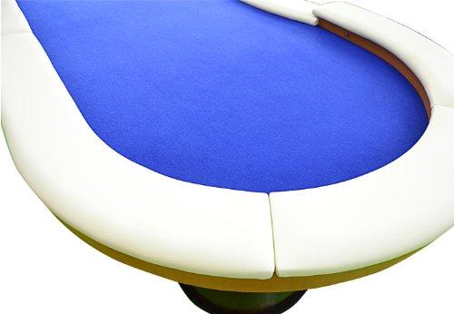 Nexos Pokertisch massiv Casinotisch aus Holz für Poker mit blauem Filzbezug weißen Armlehnen und LED Beleuchtung für 10 Spieler 213 x 105 cm - 3