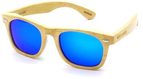 WOO LANDO - Blue Bamboo - Unisex Bambusholz-Sonnenbrille, blau verspiegelter Mirror & polarisiert