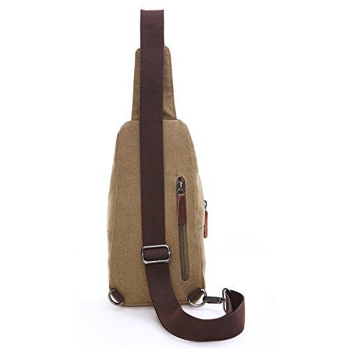 Outreo Herrentaschen Vintage Brusttasche Kleine Umhängetasche Herren Leder Schultertasche Sporttasche Messenger Taschen für Sport Reisetasche Retro Tasche Beige