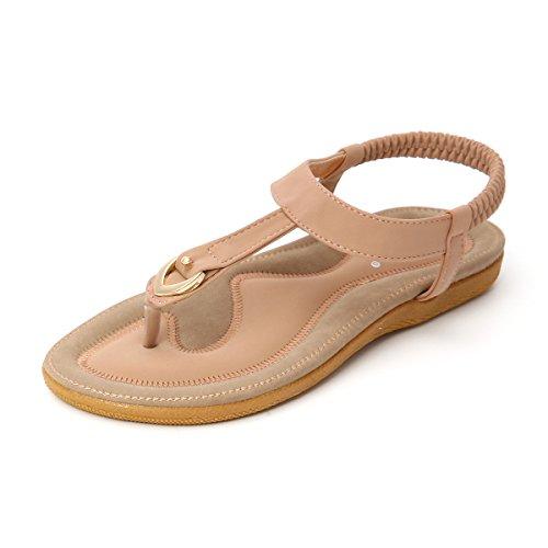 T-strap Flats Schuhe (gracosy Damen Sandalen, Sommer Sandals Flach Zehentrenner Böhmischer Stil T-Strap Flats Offene Schuhe Strand Flip Flops Pink 38)