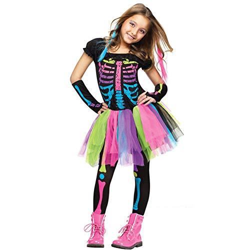 CCWASD Knochen Bunte Kostüm,Halloween Karneval Ankleide-Partys Funky Punky Bones Skelett Deluxe Mädchen Kostüm Set-Regenbogen (Funky Bones Kostüm)